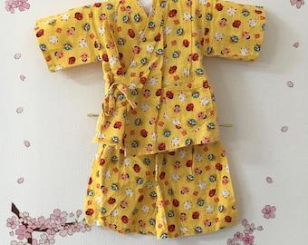Toddler Kimono Costume, Yellow Japanese Masks Design, Baby Kimono, Child Kimono, Baby Gifts, Baby Jinbei, Photo Prop Idea, Ninja Outfit