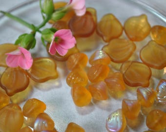 Golden leaf and triangular beads, glass beads, destash, jewelry supplies