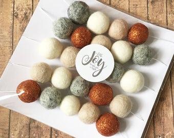 Felt ball garland • Copper glitter felt balls • home decor • copper kitchen • copper, white, latte and grey • home decor • Pom Pom bunting