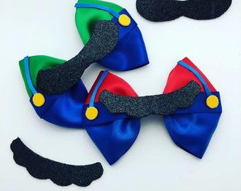 Mario and Luigi inspired hair bow