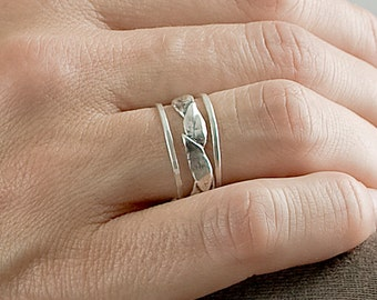 Silver Large Leaf and Thin Bands Set | Stacking Rings | Nature Inspired Rings