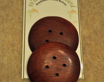"""1-3/4"""" Purpleheart Wooden Buttons - Handmade - 2 buttons"""