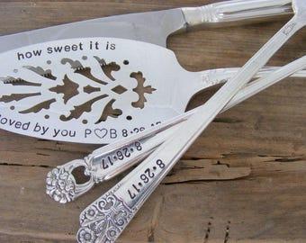 Wedding Cake Server Fork and Knife Set Hand Stamped Cake Server And Knife Set