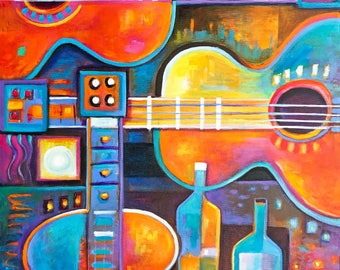 Large Abstract Modern Original Acrylic painting 32x23 Marlina Vera Red Guitars Wine Expressionism cubism colorful wall art music instruments