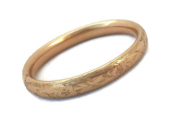 Art Nouveau Bracelet, W.M.C., Wolcott Mfg, Etched Bracelet, Hinged Bangle, Rare Antique Jewelry, Gold, Bangle Bracelets, 1920s 1900s Jewelry