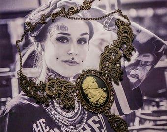 Mexican Sugar Skulls calavera gypsy cameo bronze bib necklace Bohemian ♰Forever Love♰