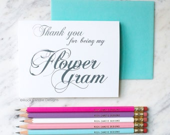 Thank You For Being My Flower Gram Card | Card for Grandmother Flower Girl | Classic Script | Beautifully Handwritten Look | Calligraphy