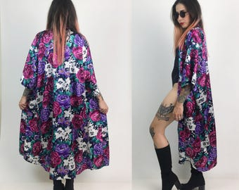 90's Vintage Rose Print Floral Robe/Open Duster - Romantic Pink Purple Long Floral Printed Lingerie Robe- Rose Print Duster With Pocket