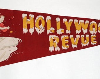 Genuine Vintage 1940s-'50s era Hollywood Ice Revue Felt Pennant — Free Shipping!