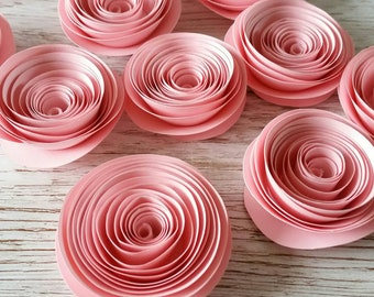 Pink Paper Flowers, Rolled Roses, Loose Flowers, Table Decororations, Party Decor, Confetti, Wedding Flowers, Home Decor