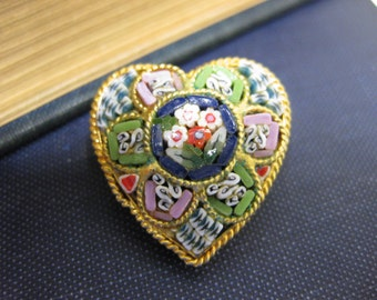 Beautiful Italian Heart Shaped Mini Mosaic Pin