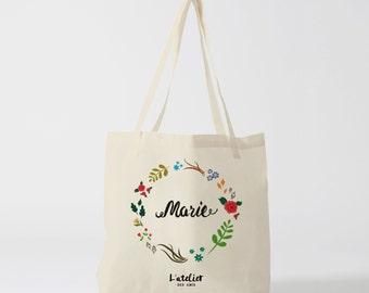 W32Y Tote Bag personalized wedding tote bags personalized bridesmaid, canvas flowers, bridesmaid, tote bag evjf bag bag
