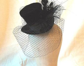 Black velvet mini top hat