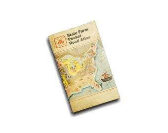 Vintage State Farm Pocket Road Atlas Old Maps Travel Lover - Vintage Atlas Books Pocket Atlas Road Map