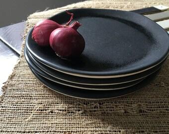 Ceramic Plate, Cake Plate, Dessert Plate, Salad Plate, Handmade Plate, Black Plate, Porcelain Plate, Decorative Plate, Housewarming Gift