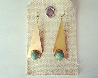 Triangle gold earrings- triangle dangle gold earrings- aventurine stone earrings - hippie earrings- gold earrings