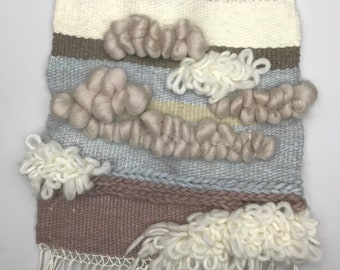 "Springtime wall hanging 9"" x 13"" - loom weaving, home decor, woven wall art, free shipping"