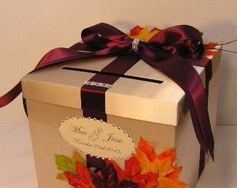 Wedding  Card Box Champagne and Wine/Burgundy Gift Card Box  Money Box Holder Fall -Customize/made to order (10x10x9)
