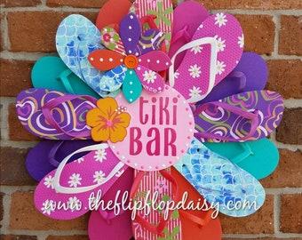 "Adorable ""Tiki Bar"" Flip Flop Wreath Door Wall Decor Unique Gift"