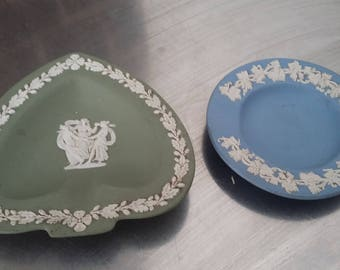 2 Vintage Green and blue Jasperware Ashtray Dishes