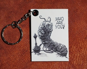 Absolem the Caterpillar Keychain magnet (pen drawing) handmade keyring for small gift