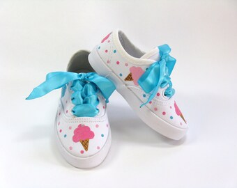 Ice Cream Shoes, Birthday Party Sneakers, Ice Cream Outfit, Hand Painted for Baby or Toddlers
