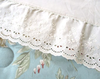 Vintage NOS Eyelet Lace Twin Sheets, Flat, Fitted, Ecru, Ivory