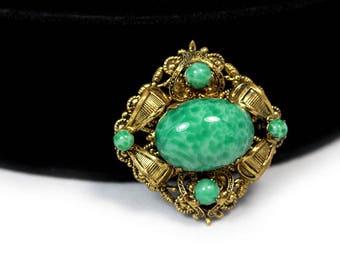 Green Peking Glass Brooch, ca. 1950s, Vintage Brooches