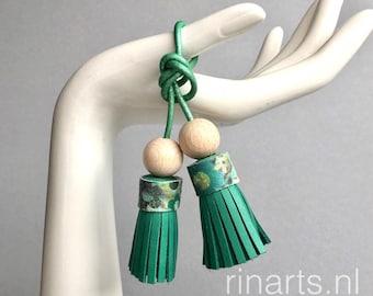 tassel bag charm / tassel keychain / DUO tassel purse charm in sea green leather. Double tassel bag charm. Womens gift