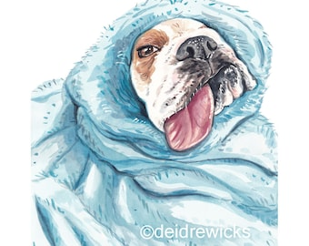 English Bulldog Watercolor - Watercolour PRINT, Nap Time, Burrito Dog, Dog Lover Gift, Nursery Art
