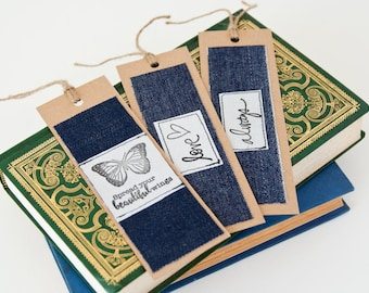 Bookmarks - Handmade Recycled Fabric Bookmarks - Set of 3 - Gift for Readers