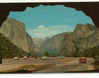 Wawona Tunnel Yosemite Valley National Park California 1950s postcard
