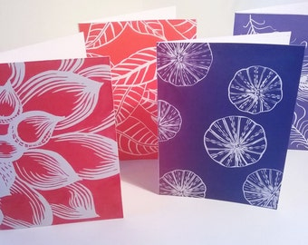 Linocut cards set, Greeting cards handmade, Set of 4 prints, uk sellers, Birthday cards for her, Thank you cards, blank greeting cards set