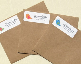 Cute Bird Address Labels - 90 Labels -3 Colors!