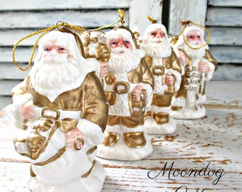 ViNTaGe SaNTa ORNaMeNTs and ANGeL - GoLD & WHiTe