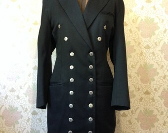 Vintage MERIVALE Double-Breasted Black Tuxedo Dress – Size 10