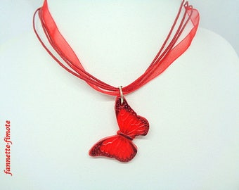 Necklace Butterfly polymer clay red and black - handmade
