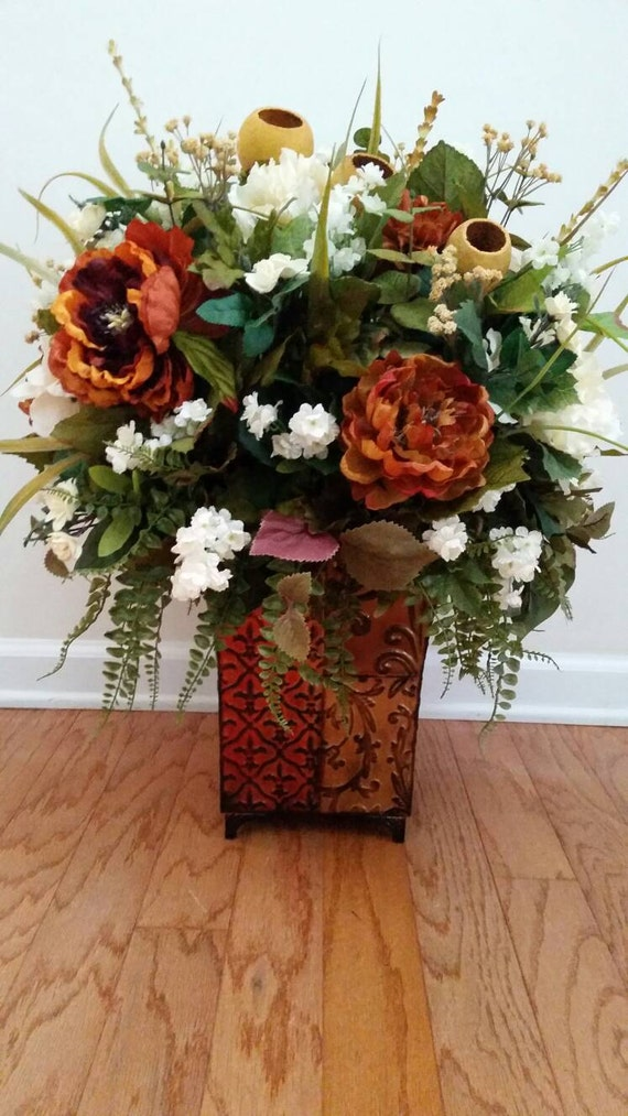 Extra large floral arrangement silk flowers traditional