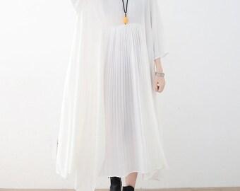 White chiffon dress,long pleated dress,asymmetrical tunic dress,spring dress,loose lightweight dress,maxi dress,maternity,plus size dress