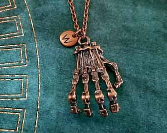 Skeleton Hand Necklace Skeleton Jewelry Gothic Jewelry Skeleton Charm Necklace Bone Pendant Necklace Fantasy Jewelry Personalized Initial