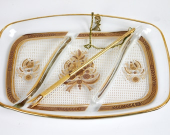 Georges Briard Divided Dish with Fork Gold Bird hors d'oeuvres appetizer