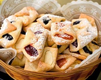Delcos; Rugula; Rugelach Mini-Polish Cookies (Chocolate Chip, Raspberry, Apricot, Prune (Plum), Cinnamon-Nut, Cinnamon-Nut-Raisin)