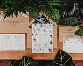 Modern Floral Whimsical Letterpress Wedding Invitation: Nature and Flower inspired