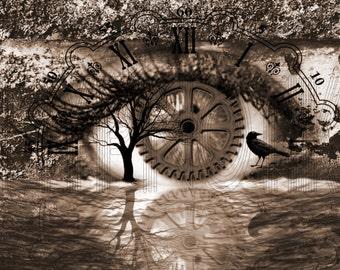Steampunk Digital Print- Earth's Eye