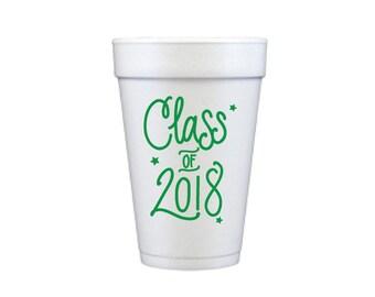 Graduation Foam Cups - GREEN INK (in-stock!)
