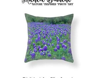 Bluebonnet Photo Pillow, Flower Field Pillow, Texas Flowers Pillow Case,  Purple Field Cushion Cover, Texas Field of Flowers Throw Pillow