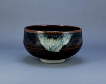 Vintage Japanese Pottery Black Brown Glaze Chawan Tea Bowl