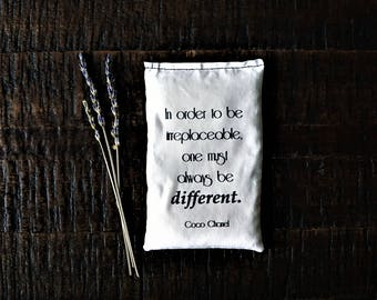 Coco Chanel Always be Different Quote Lavender Sachet, Party Favor, Bridesmaid Gift, Gift for Sister, Gift for Best Friend, Be Yourself Gift