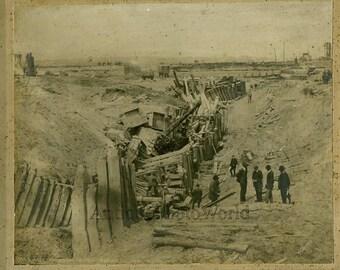 Train railroad accident antique photo