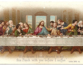 1904 Antique French Holy Prayer Card The Last Supper Christian Catholic from Vintage Paper Attic